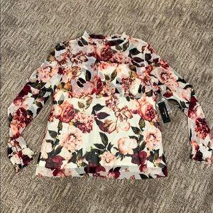 Worthington Floral Ruffle Blouse Sz XL